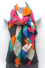 GEO STAMP PAINT SCARF