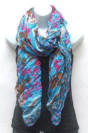 100% POLYESTER FLORAL DOTTED SCARF