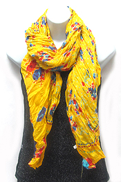 MULTI COLOR FLOWER PRINT WRINKLED SCARF