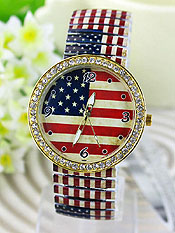 Wholesale Fashion Watch - AMERICAN FLAG STRETCH METAL BAND WATCH