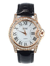 CRYSTAL STUD DESIGNER INSPIRED LEATHER BAND WATCH