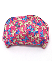 BUTTERFLY PRINT ZIPPER TOP MAKE UP BAG
