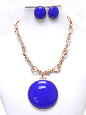 LARGE STONE WITH CHAIN NECKLACE SET