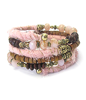 FABRIC AND WOOD CHIP MIX COIL BRACELET
