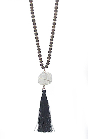 SEMI PRECIOUS STONE AND MULTI WOOD BEAD CHAIN TASSEL DROP LONG NECKLACE