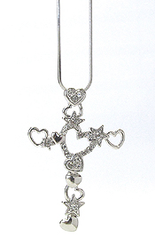 WHITEGOLD PLATING CRYSTAL HEART CROSS PENDANT NECKLACE
