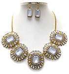 MULTI CRYSTAL AND FACET GLASS DECO FLOWER LINK NECKLACE EARRING SET