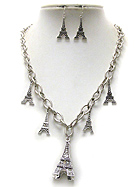 CRYSTAL DECO MULTI EIFFEL TOWER NECKLACE EARRING SET
