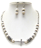 CRYSTAL CROSS PENDANT AND PEARL RONDELLE BEAD NECKLACE EARRING SET