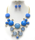 CRYSTAL AND FACET GLASS BUBBLE LINK BIB STYLE NECKLACE EARRING SET