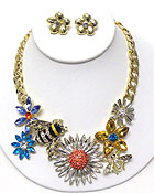 LUXURY AUSTRIAN CRYSTAL VICTORIAN STYLE GARDEN THEME BUG AND FLOWER NECKLACE EARRING SET