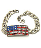 CRYSTAL AND EPOXY AMERICAN FLAG THICK CHAIN BRACELET