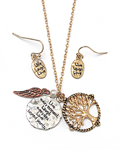 LIFE TREE CHARM NECKLACE SET