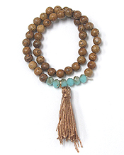 WOOD BEAD AND TASSEL STRETCH DOUBLE WRAP BRACELET