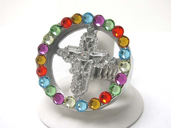 CRYSTAL ROUND AND CROSS STRETCH RING