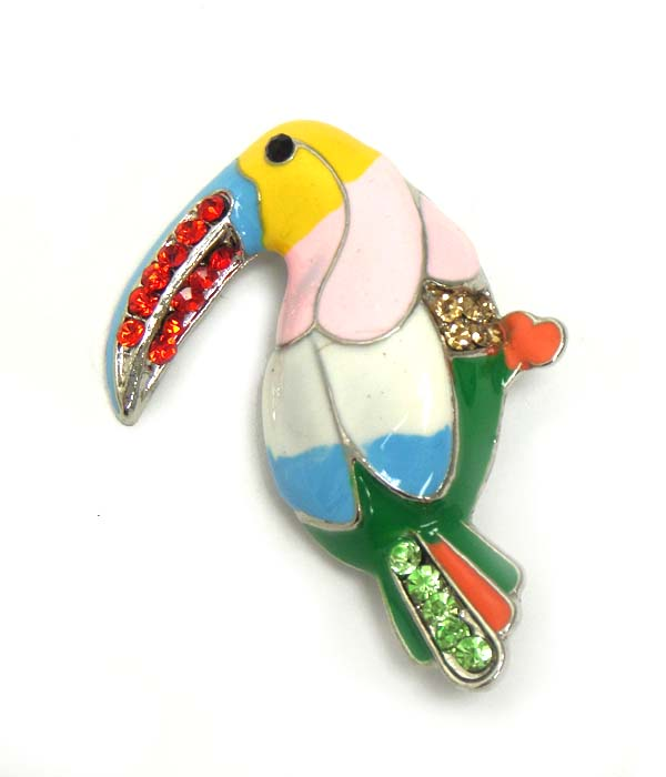 CRYSTAL METAL TROPICAL BIRD PIN OR BROOCH