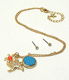 CRYSTAL STUD STARFISH AND TURTLE DANGLE NECKLACE EARRING SET