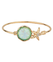 CRYSTAL STARFISH AND ABALONE FINISH PUFFY STONE WIRE BANGLE BRACELET