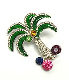 MULTI SIZE CRYSTAL PALM TREE PIN OR BROOCH