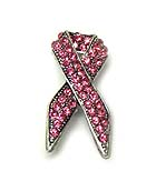 CRYSTAL STUD PINK RIBBON BROOCH OR PIN - BREAST CANCER AWARENESS