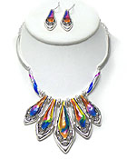 CRYSTAL AND ENAMELED TEXTURED METAL BARS DROP NECKLACE EARRING SET