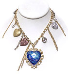 GLASS DECO PRITED BUTTERFLY MULTI HEART CHARMS DANGLE NECKLACE
