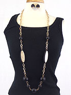 WOODEN BALL AND SCRATCH METAL METAL LINK LONG NECKLACE EARRING SET
