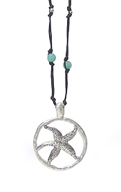 SEALIFE THEME LONE LEATHER CHAIN NECKLACE - STARFISH
