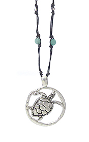SEALIFE THEME LONE LEATHER CHAIN NECKLACE - TURTLE