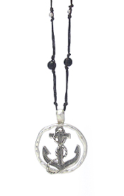 SEALIFE THEME LONE LEATHER CHAIN NECKLACE - ANCHOR