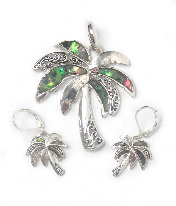 METAL FILIGREE AND ABALONE PALM TREE PENDANT SET