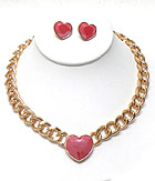 ACRYLIC HEART AND THICK CHAIN NECKLACE EARRING SET
