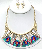 MULTI FACET STONE AND SEED BEAD AZTEC INSPIRED NECKLACE EARRING SET
