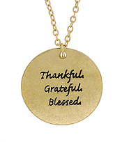 THANKFUL GRATEFUL BLESSED MESSAGE PENDANT NECKLACE
