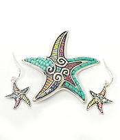 MOSAIC STARFISH DESIGN PENDANT SET