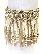 MULTI BEADS AND CRYSTALS BOHEMIAN FRINGE BRACELET