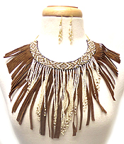 MULTI BEADS AND CRYSTALS BOHEMIAN FRINGE DROP NECKLACE SET