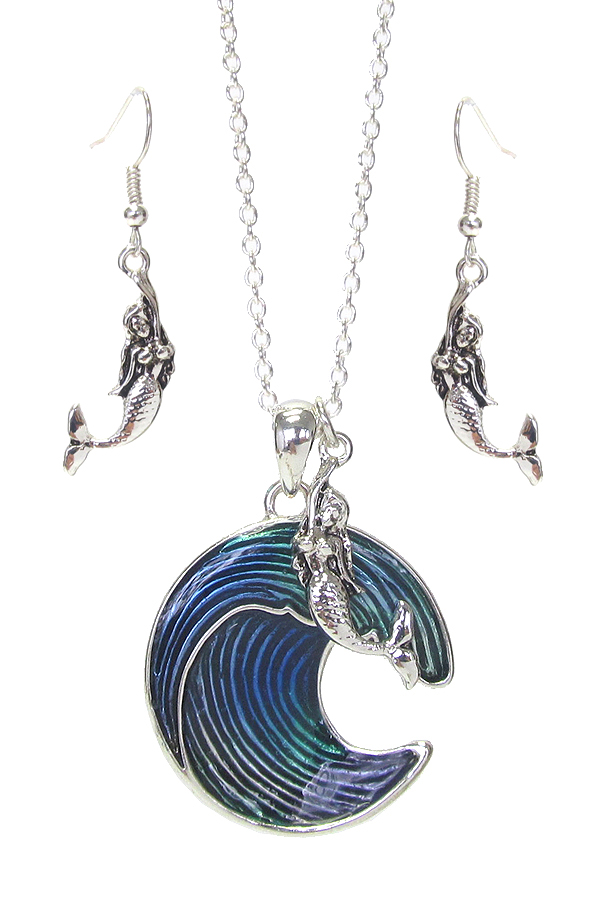 SEALIFE THEME PENDANT NECKLACE SET - MERMAID AND WAVE