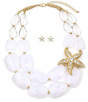 CRYSTAL STARFISH AND FACET RESIN STONE DOUBLE CHAIN NECKLACE SET