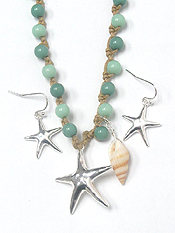 WOOD BEADS KNOT STARFISH PENDANT NECKLACE SET