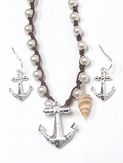 WOOD BEADS KNOT ANCHOR PENDANT NECKLACE SET