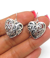 METAL FILIGREE HEAR FISH HOOK EARRINGS