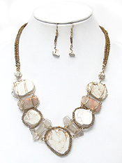 3 LAYER SEEDBEADS WIRE WRAPPED STONE NECKLACE SET