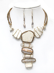 3 LAYER  NATURAL STONE AND SEEDBEADS WIRE WRAPPED NECKLACE SET