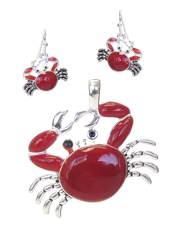 EPOXY RED CRAB PENDANT AND EARRING SET