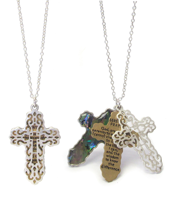 RELIGIOUS INSPIRATION MESSAGE AND ABALONE AND FILIGREE TRIPLE CROSS NECKLACE - SERENITY PRAYER
