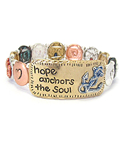 INSPIRATION MESSAGE STRETCH BRACELET - HOPE ANCHORS THE SOUL