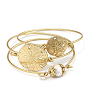 FRESHWATER PEARL AND SAND DOLLAR WIRE BANGLE THREE SET STACKABLE BRACELET