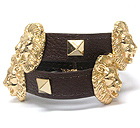 MULTI METAL TEXTURED LION HEAD AND MULTI METAL SQUARE SPIKES LEATHERETTE WRAP BRACELET