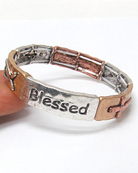 RELIGIOUS THEME STRETCH BRACELET - BLESSED